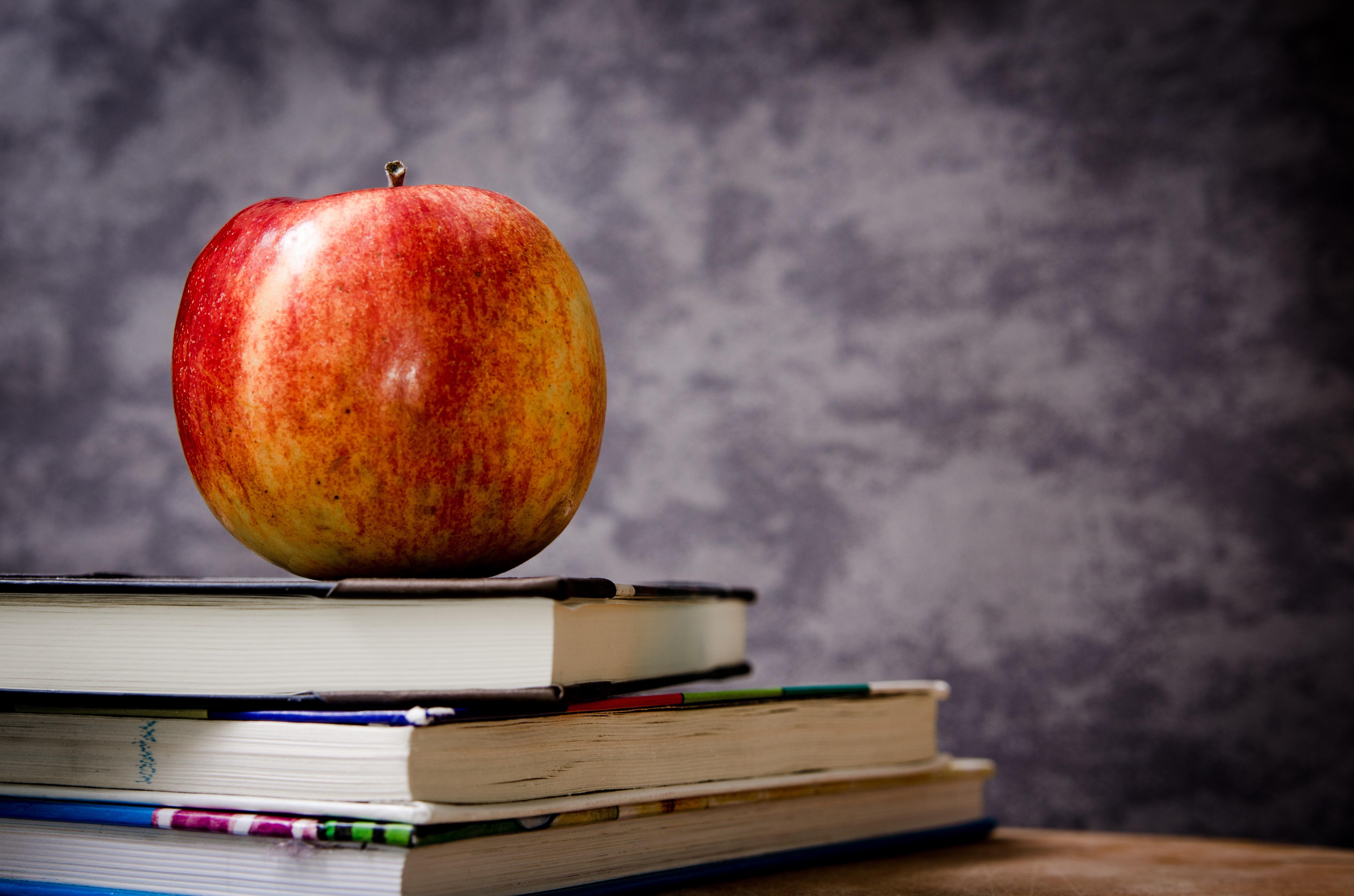 本の上にリンゴが乗っている画像
