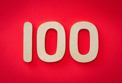 赤背景の100の画像