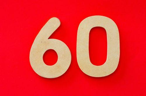 赤背景の60の画像
