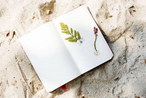 砂浜に置かれたノート