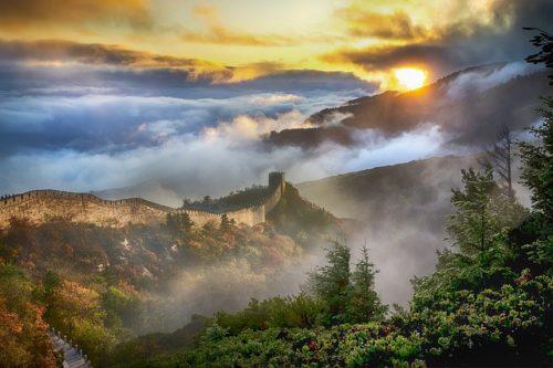万里の長城の日の出