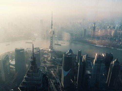 上海の外灘を上空から写した画像