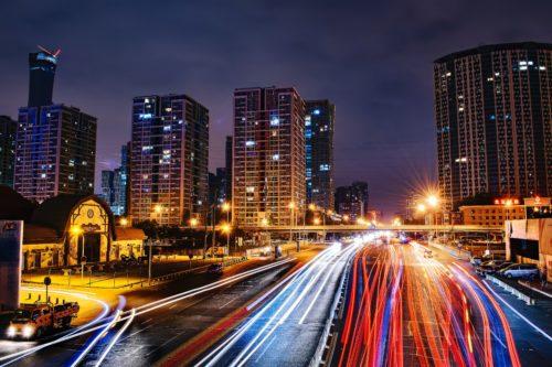 北京の夜景、道路の画像