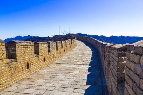 万里の長城の上から撮った写真