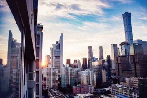 北京の青空、ビル群の画像