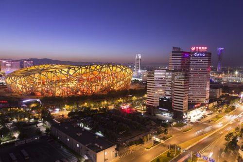北京の夜景、鳥の巣の画像