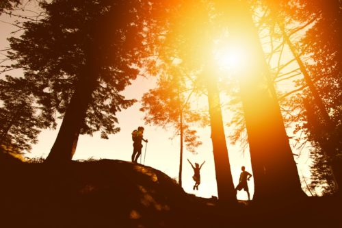 山中を歩くグループの画像