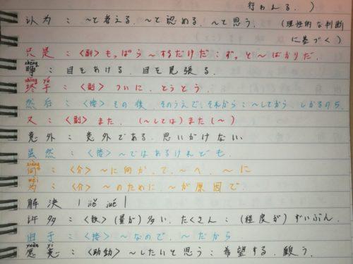 HSK5級の勉強をしていたときに作った単語ノート