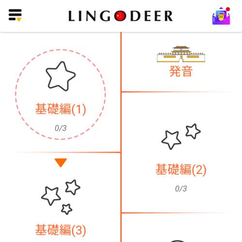 「基礎編 (1)」はLingoDeerトップの上から2番目